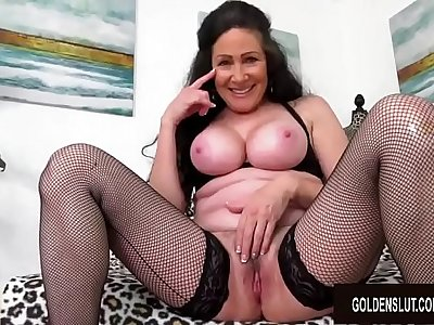 Big Tits Mature Alexandra Silk Strips Playfully Before Fucking