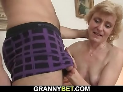 Blonde mature woman takes fresh cock