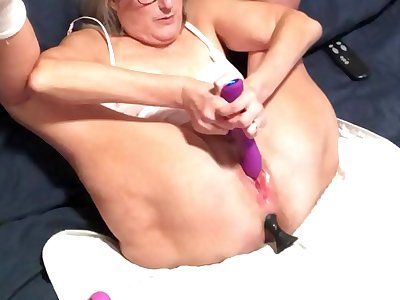 Horny Wife Vibes Wet Pussy Gets Huge Buttplug In Her Ass