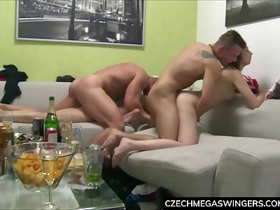 Threesome Fucking at Private Home Party