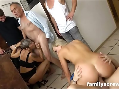 Blonde babe meets the family