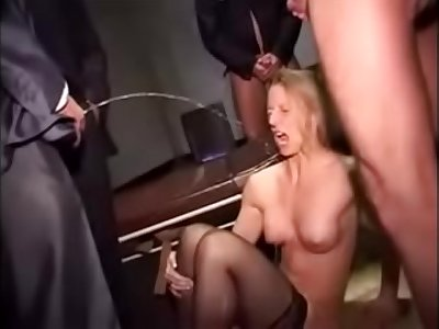 Horny secretary gets rough treatment with lots of piss and cum
