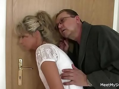 Parents trick their son's GF into 3some sex